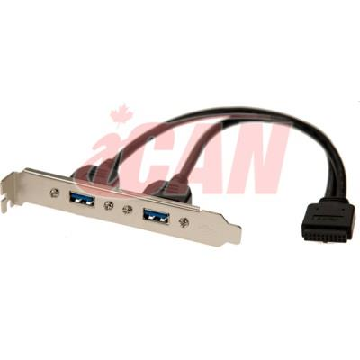 iCAN 2 Port USB 3.0 Type A Female Slot Plate Adapter (USB3 20PF2AF-20)