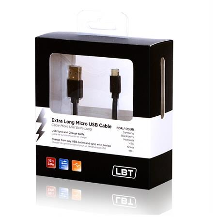 LBT Extra Long Micro USB Cable 10 Ft