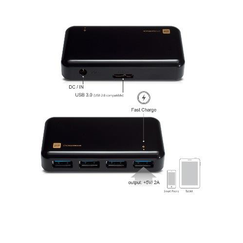 Mediasonic HH5-U34P 4 Port USB 3.0 Hub with 10W Power Adapter (HH5-U34P)