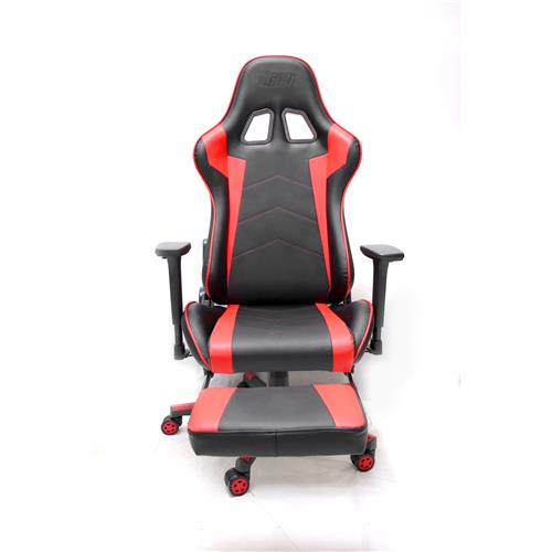 iCAN Racing Gaming Chair, Footrest, PU leather, 3D Armrest, 60mm PU Caster, Black & Red
