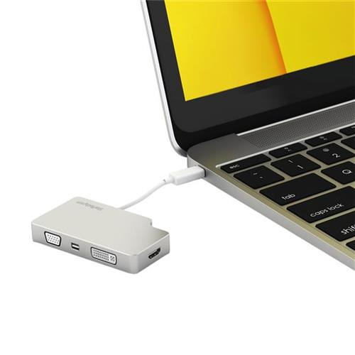 StarTech Aluminum Travel A/V Adapter: 4-in-1 USB-C to VGA