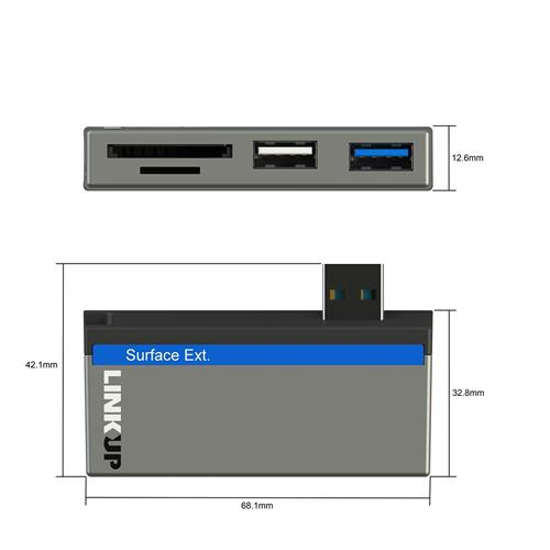 """LINKUP 6-in-1 USB Memory Card Reader SD/Micro SD Card Slots 1x USB 3.0 Hub + USB 2.0 Card Reader Combo Adapter Compatible with Microsoft Surface Pro 3 (12.3"""") / Pro 4 / 5 / 6 (MSURF-727)"""