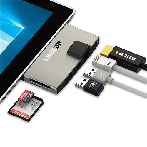 LINKUP 6-in-1 Network Adapter Memory Card Reader USB 3.0 Hub Combo Adapter with 4K HDMI, Gigabit Ethernet, SD/Micro SD Card Slots, 2 USB 3.0 Ports Compatible with Microsoft Surface Pro 3 (MSPRO3-768)