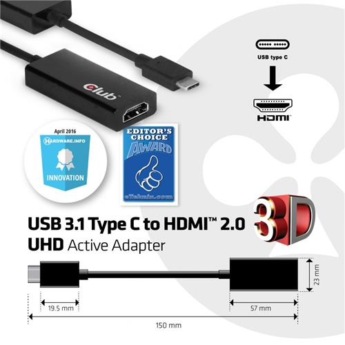 Club 3D USB 3.1 TYPE C MALE to HDMI 2.0 FEMALE 4K60Hz UHD/ 3D Active Adapter (CAC-1504)