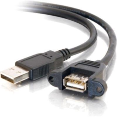 Cables To Go USB 2.0 Panel Mount Cable (Black) - 1 ft.(28061)
