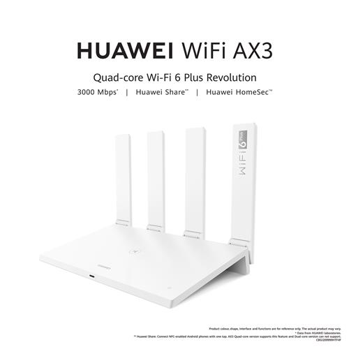 HUAWEI WiFi AX3 Router - Quad-core, Wi-Fi 6 Plus, Up to 3000 Mbps