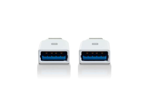 Mediasonic Type C Male to USB Type A Female Adapter - 2PK, White (HAC2-CAG1-WT)