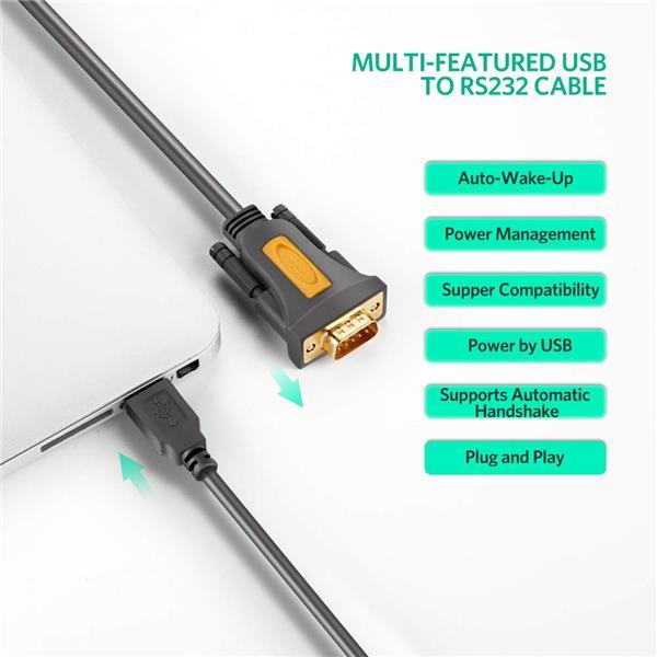 UGREEN CR104 USB TO DB9 RS-232 Adapter, 2M, Black