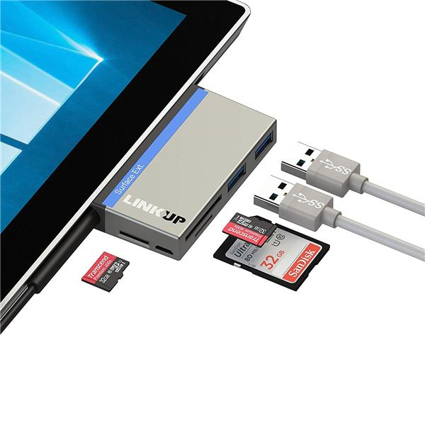 """LINKUP 6-in-1 USB 3.0 Surface Pro Hub Adapter(5GB/s), Memory Card Reader with SD/Micro SD Card Reader Writer and 2 USB 3.0 Ports for Compatible with Microsoft Surface Pro3(12.3"""")3 (12.3"""") / Pro 4 / 5 / 6 (MSURF-737)"""