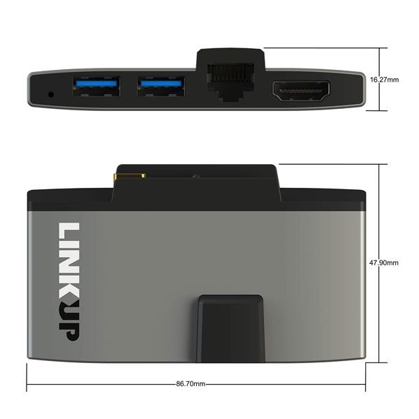 LINKUP 8-in-1 Hub - 4K HDMI, USB 3.0, 2x SD, 2x Micro SD (TF), CompactFlash, SATA Hard Drive Adapter Port Extension - Compatible with Surface GO Macbook (MSGO-665)