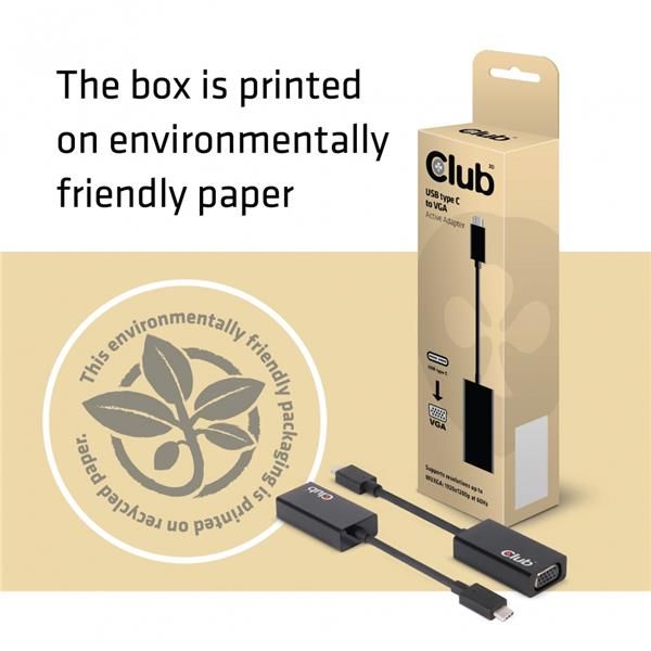 Club 3D USB 3.1 TYPE C MALE to to VGA FEMALE Active Adapter (CAC-1502)