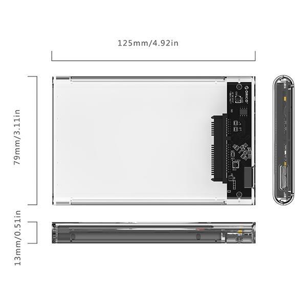 ORICO Tool-Free Transparent 2.5'' USB3.0 hard drive external enclosure - 2139U3 (Clear)