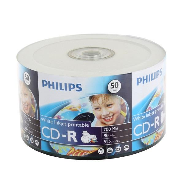 image about Inkjet Printable Cds called Philips 52x CD-R White Inkjet Printable inside 50-Greater part pack