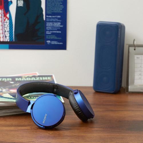 Sony Bluetooth Headphones Blue Bass Booster Technology
