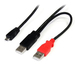 StarTech USB Y Cable for External Hard Drive - Dual USB A to Micro B - 1ft.(USB2HAUBY1)